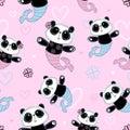 Seamless pattern. Cute Panda mermaid on pink background. Vector