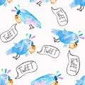 stock image of  Seamless pattern with cute parrots