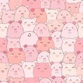 Seamless pattern cute pigs smiling