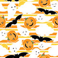 Seamless pattern of Cute pumpkin, bat and ghost cartoon on striped background, Halloween wallpaper, scrap paper,