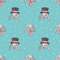 Background with cute love rabbits. Watercolor seamless pattern