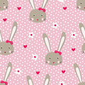 Seamless pattern with cute rabbits
