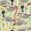 Seamless pattern with cute rain forest animals, toucan, snake, sloth