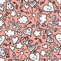 Seamless pattern cute romantic doodles Royalty Free Stock Photography