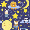 Seamless pattern with cute sleeping animals and moons, stars