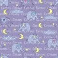 Seamless pattern with cute sleeping elephants