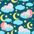 Seamless pattern with sleeping babies - vector illustration, eps