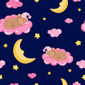 Seamless pattern with cute sleeping teddy bear, clouds, stars and moon.