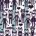 Seamless pattern with cute stylish kittens in clothes Royalty Free Stock Photos