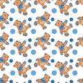Seamless pattern of Cute Teddy bear. Vector illustration on white background