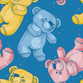 Seamless pattern with cute teddy bears