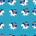 Seamless pattern with cute unicorn and boy riding vector illustration on blue background. Colorful vector illustration for fabric
