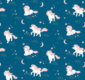 Seamless pattern with cute Unicorns, stars and moon. Vector illustration Royalty Free Stock Photo
