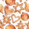 Seamless pattern of cute watercolor gingerbread.