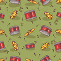 Seamless Pattern with Cymbals and Drums
