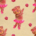 Seamless pattern with dancing bear in ballet tutu