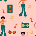 Seamless pattern with dancing women in bright clothes and record player, notes. Girl power background