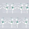Seamless pattern with dancing young girls on grey stripe background, fun, kin. Kids in dynamic pose, with raised hands and legs. B Royalty Free Stock Photo