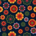 Seamless pattern on a dark background with bright multicolored flowers in Mexican style. Flat style.