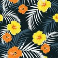Seamless pattern, dark vintage colors, palm leaves and yellow, orange hibiscus flowers on dark blue background Royalty Free Stock Photo