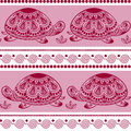 Seamless pattern with decorated turtles. Ethnic turtle. Royalty Free Stock Photo