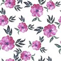 Seamless pattern with decorative abstract pink flowers. Watercolor illustration.