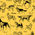 Seamless pattern with decorative black dogs on yellow background