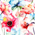 Seamless pattern with decorative blue flower watercolor illustration Royalty Free Stock Photo