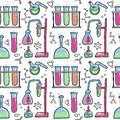 stock image of  Seamless pattern of decorative color hand drawn chemical lab scientific experiment equipment isolated vector illustration. Set of