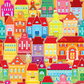 Seamless pattern decorative colorful houses city endless background Royalty Free Stock Images