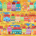 Seamless pattern with decorative colorful houses fall or autumn season city endless background ready to use as swatch Royalty Free Stock Image
