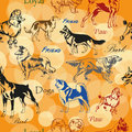 Seamless pattern with decorative dogs