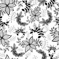 Seamless pattern of decorative flowers and plants