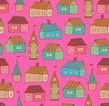 Seamless pattern with decorative houses city back background hand drawn town template for prints textile wallpapers wraps Stock Photos