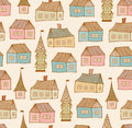 Seamless pattern with decorative houses city background hand drawn town template for prints textile wallpapers wraps Stock Photos