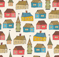 Seamless pattern with decorative houses city background hand drawn town template for prints textile wallpapers wraps Royalty Free Stock Photo