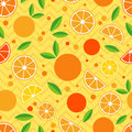 Seamless pattern with decorative oranges. Tropical fruits.