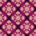 Seamless pattern decorative purple damask Stock Photography