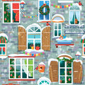 Seamless pattern with decorative Windows in winter time. Royalty Free Stock Photo