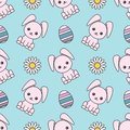 Seamless pattern dedicated to Easter with the image of rabbits, painted eggs and chamomiles. Colorful illustration