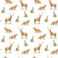Seamless pattern of a deer, hare and fox.Forest animals.