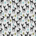 Seamless pattern with deer and trees Stock Images