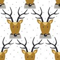 Seamless pattern with deers