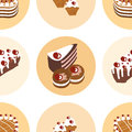 Seamless pattern with delicious sweet Stock Photo