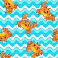 Seamless pattern design of a funny red crab on a blue surface.