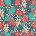 Seamless pattern design with hand drawn flowers and floral eleme