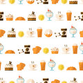 Seamless pattern with dessert and drinks for textiles interior design for book design website background Stock Images