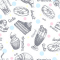 Seamless pattern with desserts hand drawn pancakes and sweet buns sketch cake cream vector illustration.