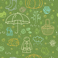 Seamless pattern with different autumn symbols. Linear nature icons background.