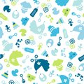 Seamless Pattern Baby Icons Boy Filled Blue And Green